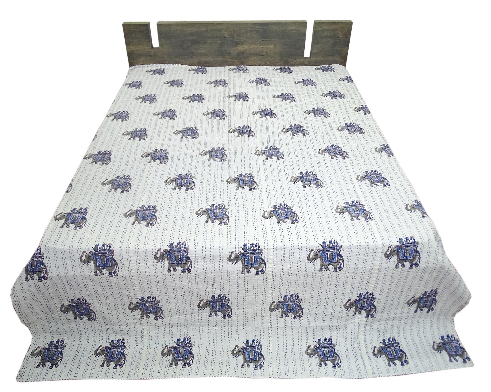 Handblock Printed Kantha Quilt