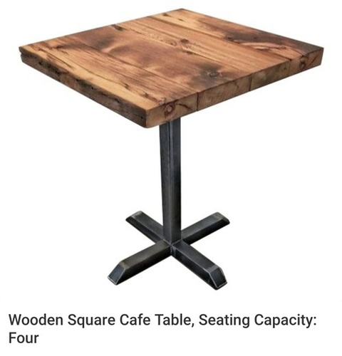 wodden square cafe table seating capacity four