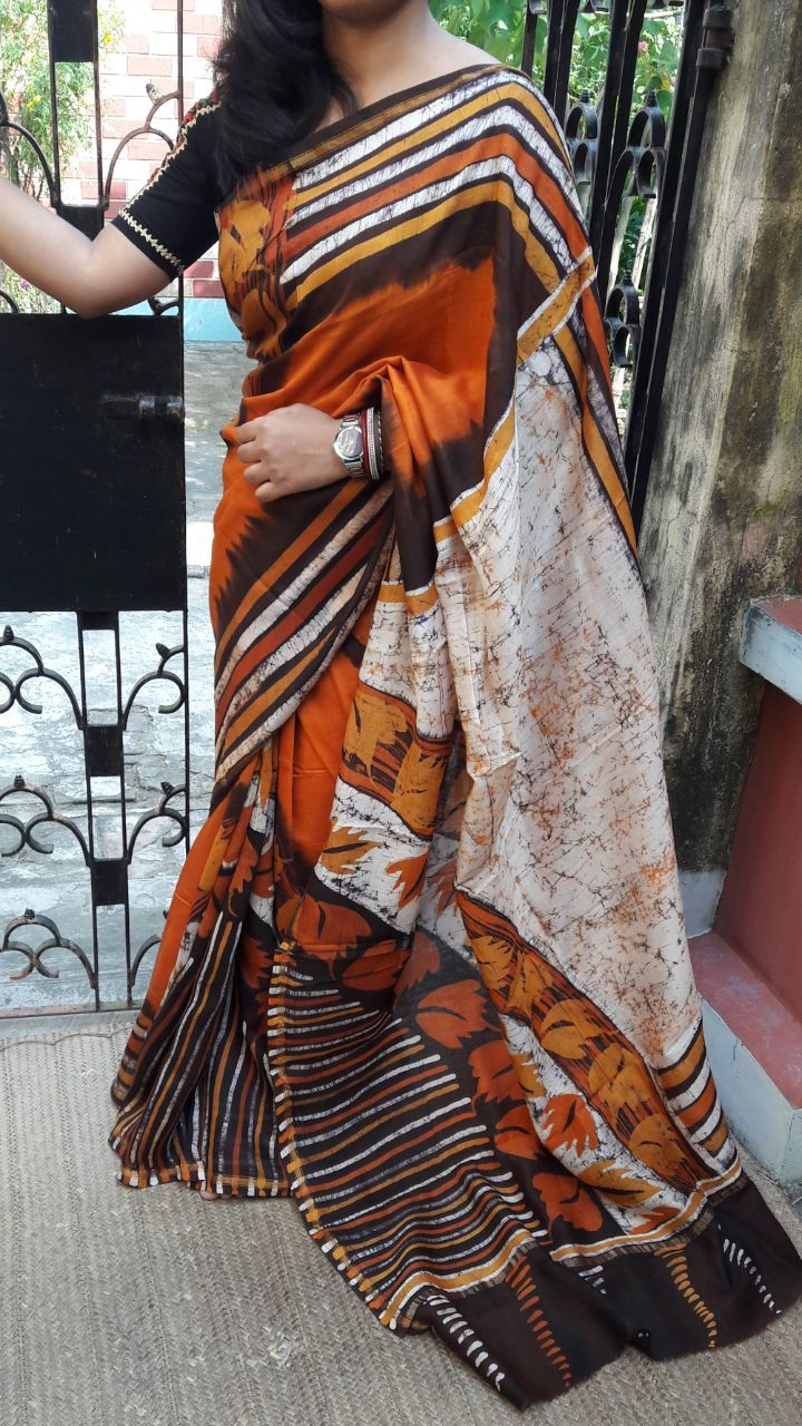 Mom Hand Batik Printed Mulmul Cotton Sarees