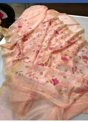 Silk Linen Embroidered Sarees