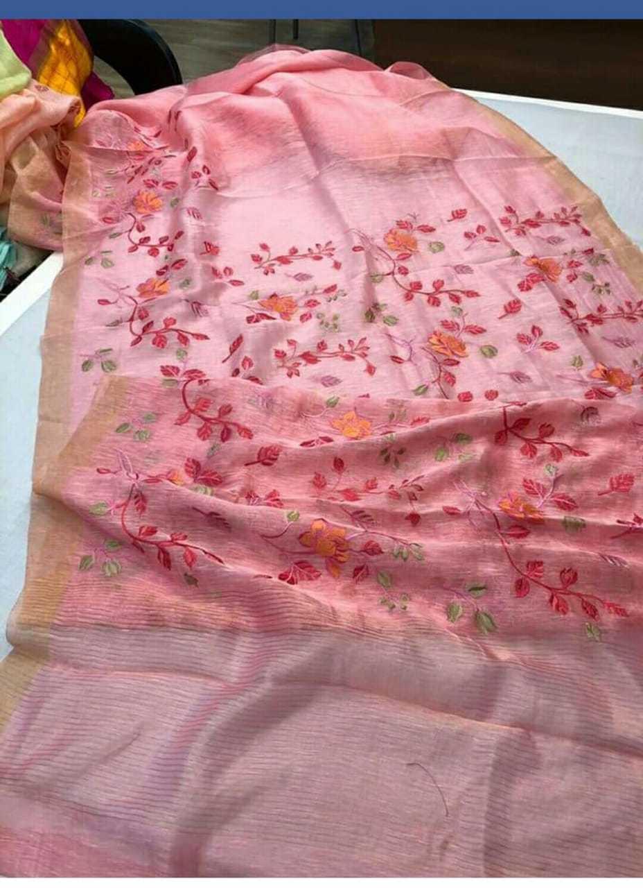 Silk Linen Embroidered Sarees