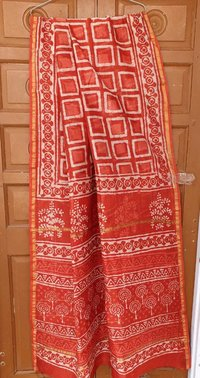 Chanderi Silk Block Printed Sarees