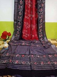 Linen Batik Printed Sarees
