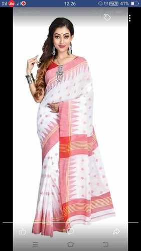 Khadi Cotton Ball Buti Temple Border Sarees