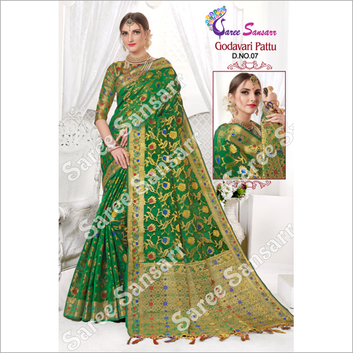 Ladies Godavari Pattu Printed Saree