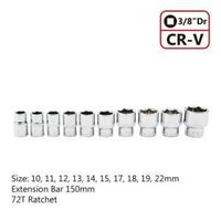 OEM/ODM 12PCS 3/8 DR 10-22MM CRV SOCKET 72 TOOTH WRENCH HAND TOOL SET