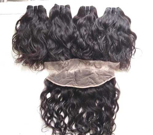 Raw unprocessed temple donated wavy hair