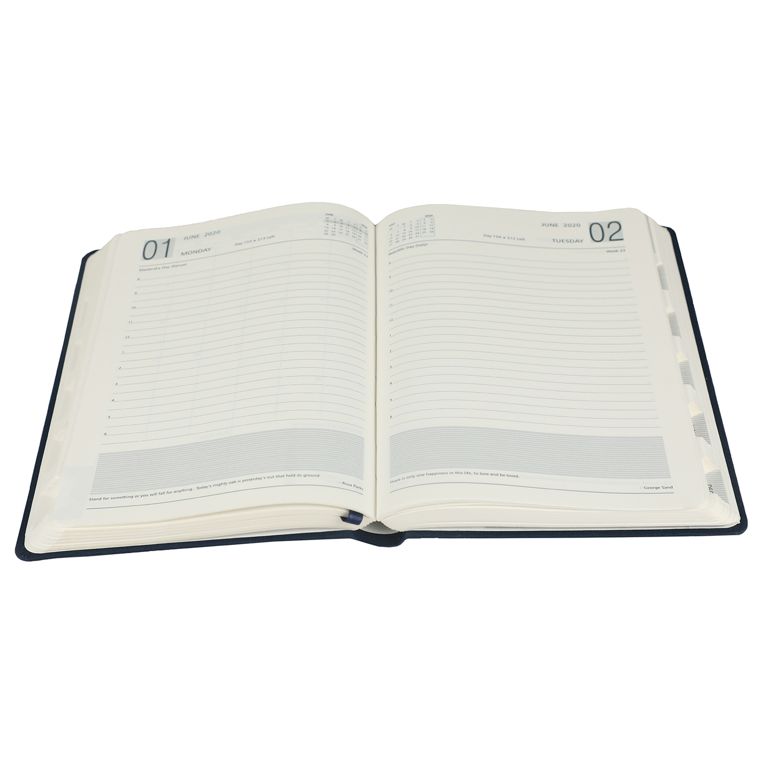 A5 Size - One Day to a Page New Year Diary with Elastic Band