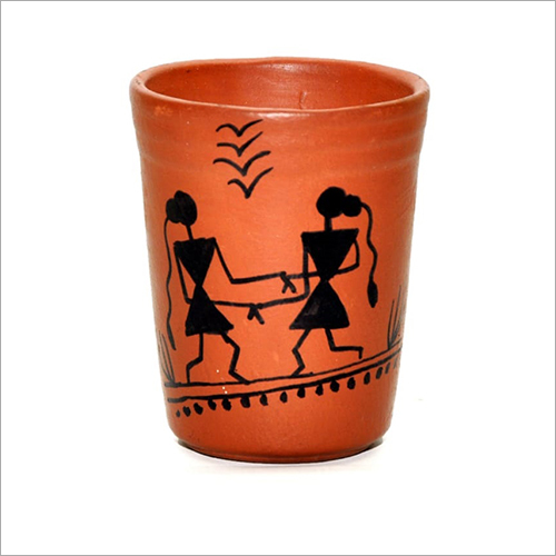 Warli Painted Clay Glass