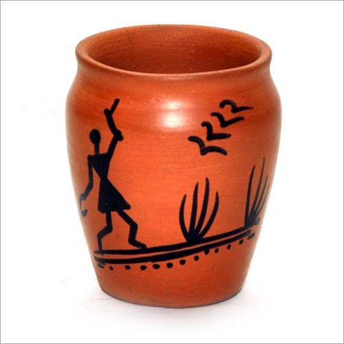 Warli Painted Clay Kullar Glass
