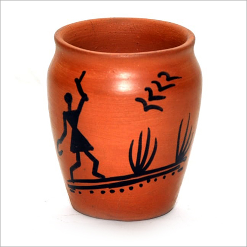 Warli Painted Clay Kullar Glass