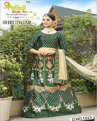 Digital Printed Green Lehenga Choli