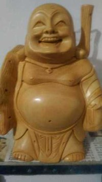 Hand Carved Wooden Laughing Buddha Stending 15 cm