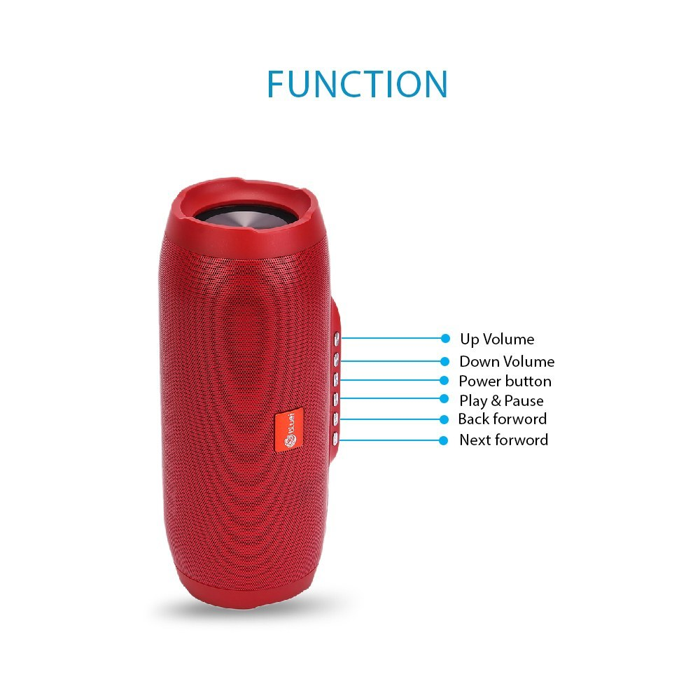 Bluei Cylinder Z-6 Hi-Bass 5.0 Bluetooth version with Built-in FM Radio, Aux input, Call Function & SD Card support Portable Bluetooth Speaker