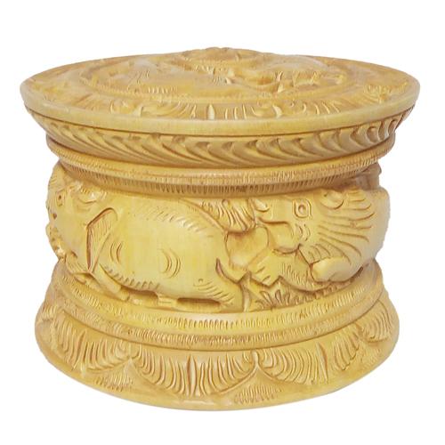 Woodenr Round Box Sindur Dani Carved