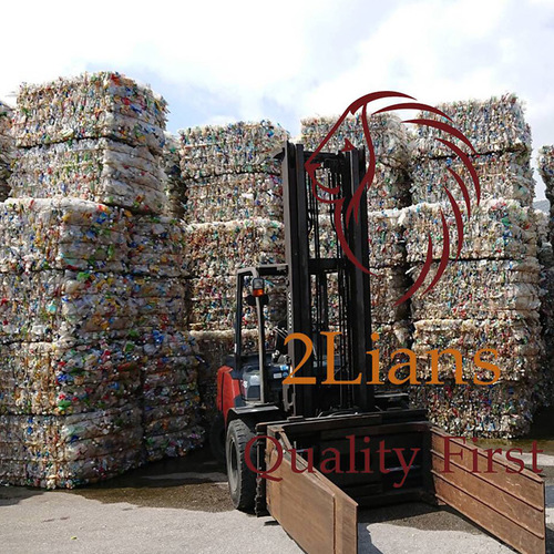 PET Bottle on bales Mix Color plastic scrap transparent and Mix label