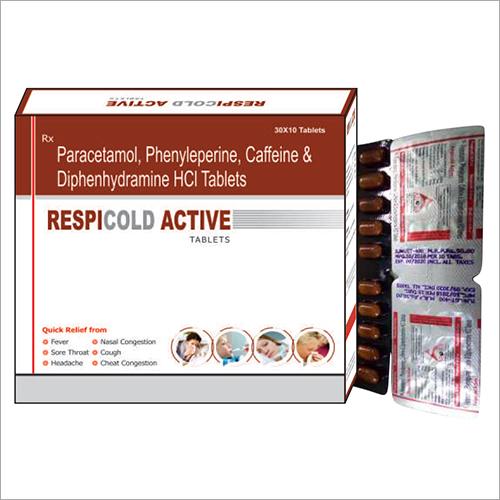 Paracetamol Phenylephrine Caffeine And Diphenhydramine HCL Tablets