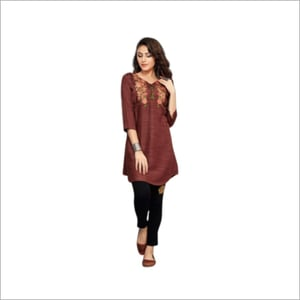Brown Embroidered Tunic Top