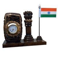 Apnoghar Dark Brown Wooden Clock Pen Stand with Ashok Stambh and Flag