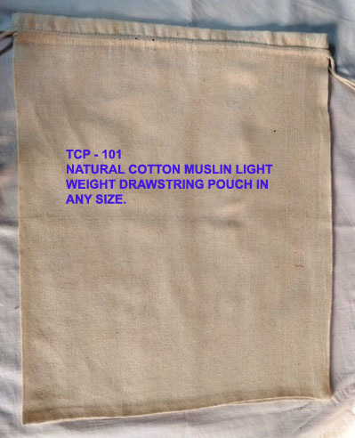 NATURAL COTTON MUSLIN POUCH