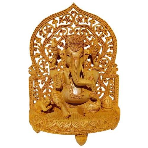 Wooden Ganesh Back jali showpiec 25 cm
