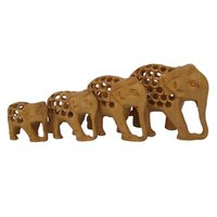 Wooden Hadmed Elephant Undercut Set of 4 pic Decoretiv Showpiec