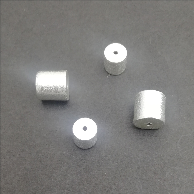 Silver Plated Copper Drum Shape Bead