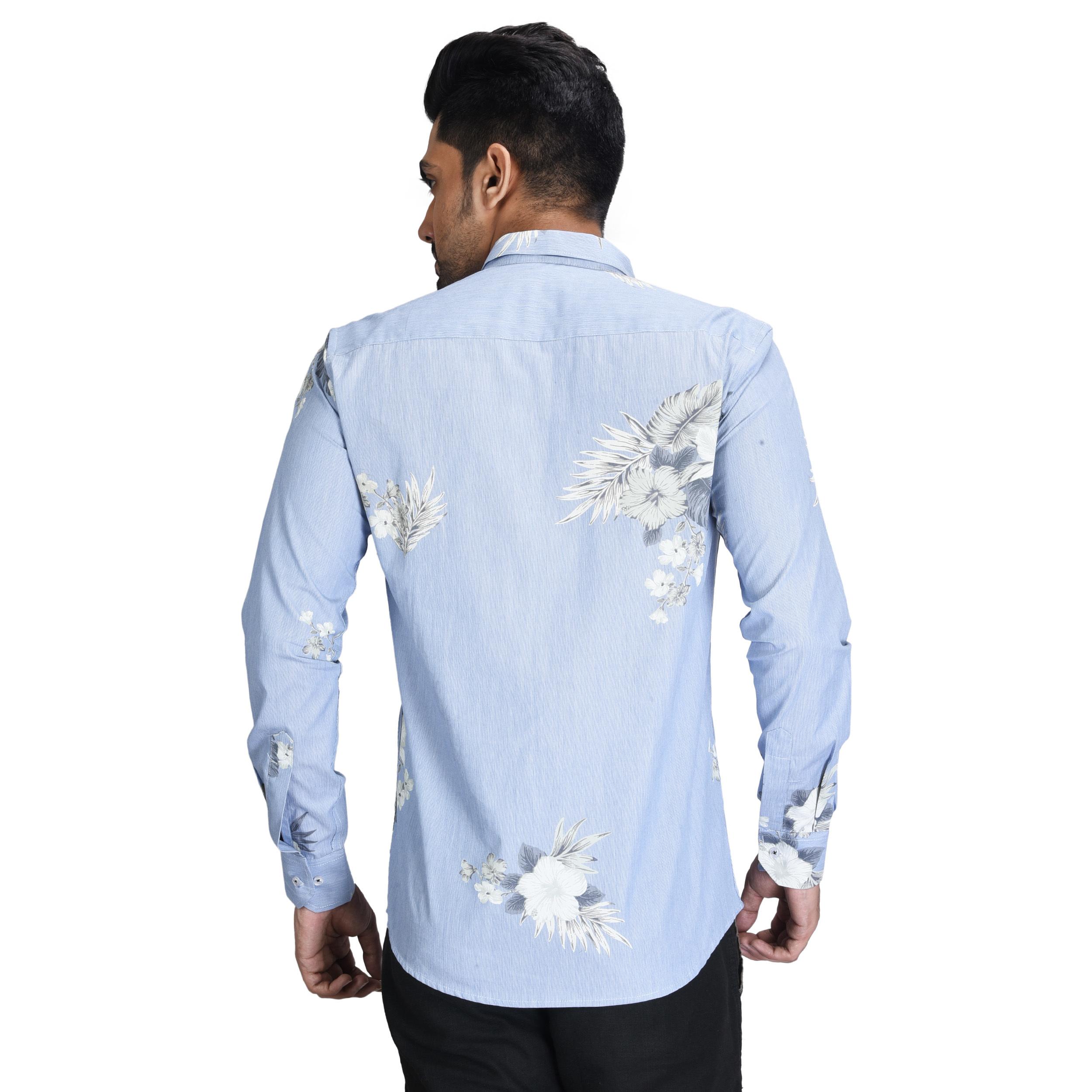 Mesn Printed Blue Designer Shirt