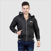 Mens Full Sleeve Black Jacket with Hood