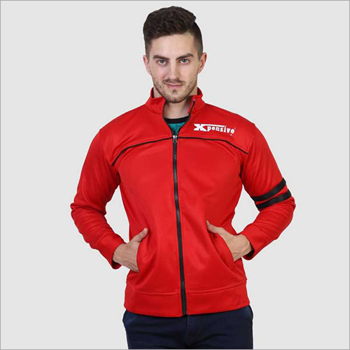 Mens Full Sleeve Red Zipper Jacket