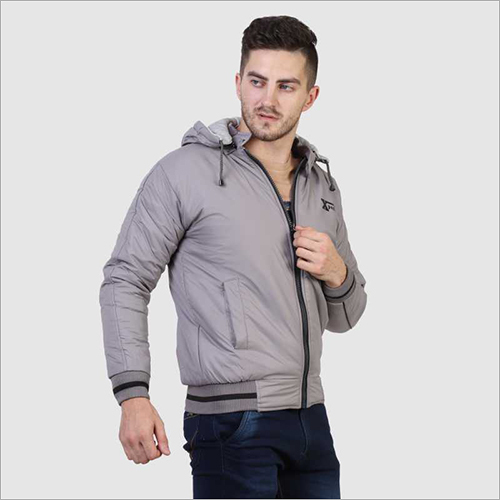Mens Full Sleeve Light Grey Jacket