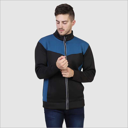 Mens Black and Blue Zipper Jacket