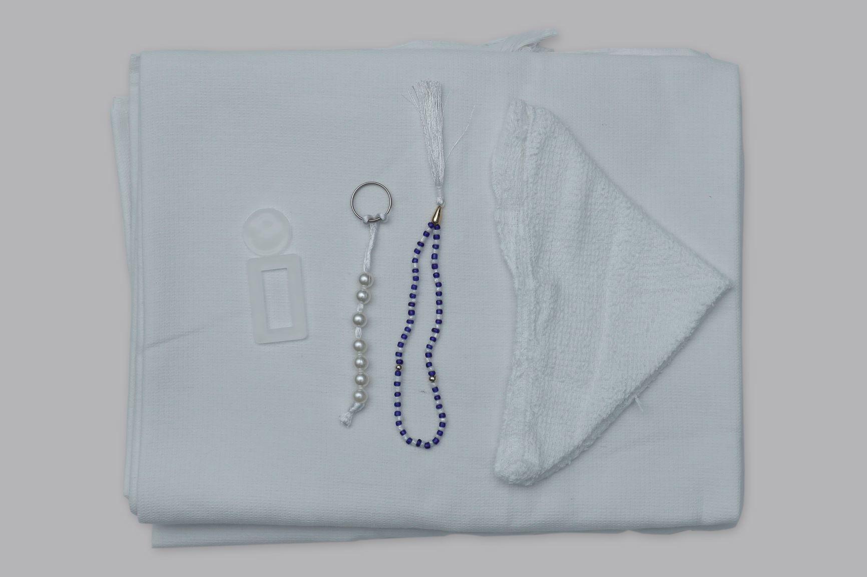 White Cotton Fabric Minara Haj Towel