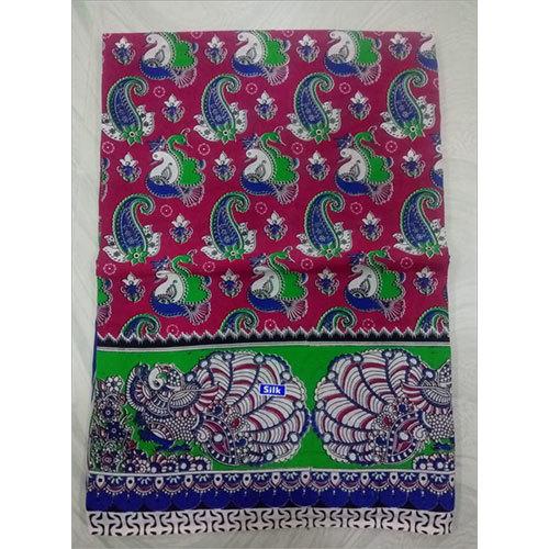 Peacock Print Kalamkari Silk Saree