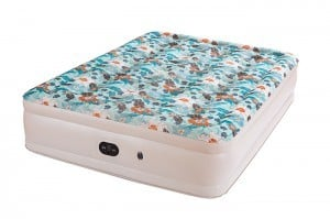 Airbed with Built-in Electric Pump, Comfort Flocking Top Special Beautiful Print Pattern , bed Height 18a