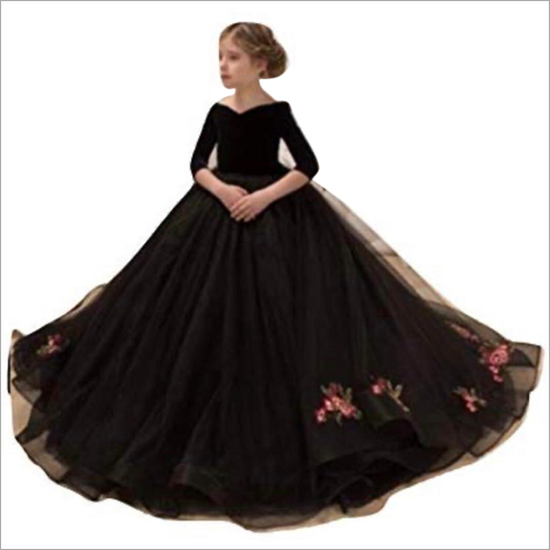 Girls Velvet Net Floor Length Gown