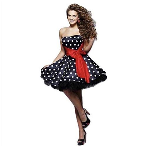 Ladies Party Off Shoulder Polka Dot Dress