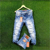 Men Cotton Blue Damage Jeans