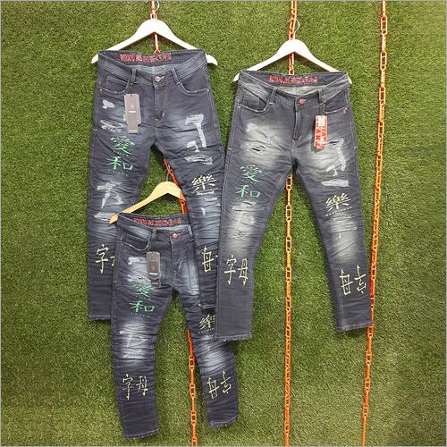 Mens Regular Fit Printed Jeans