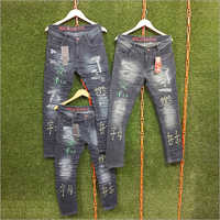 Mens Regular Fit Printed Jeans