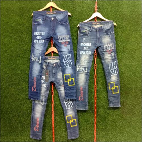 Mens Denim Printed Jeans