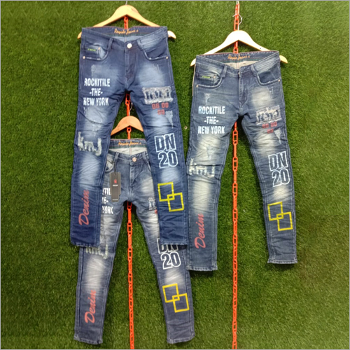 Mens Denim Printed Jeans