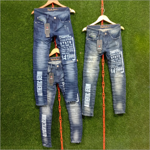 Mens Stylish Printed Jeans