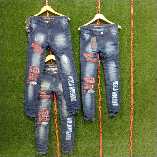 Mens Patch Slim Fit Printed Jeans
