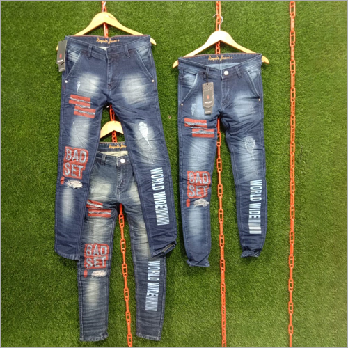 Mens Patch Slim Fit Printed Jeans