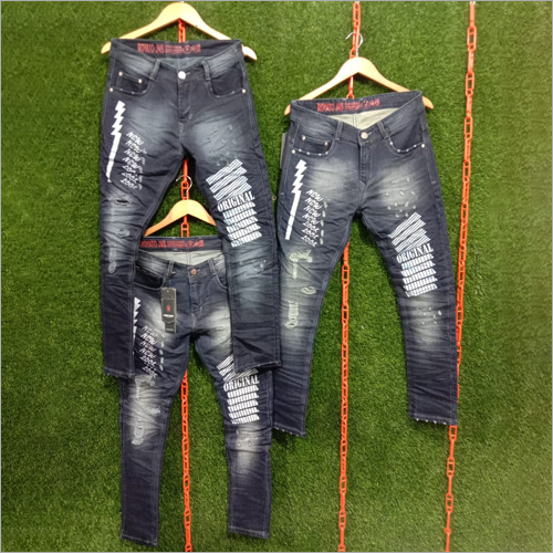 Mens Stylish Denim Printed Jeans