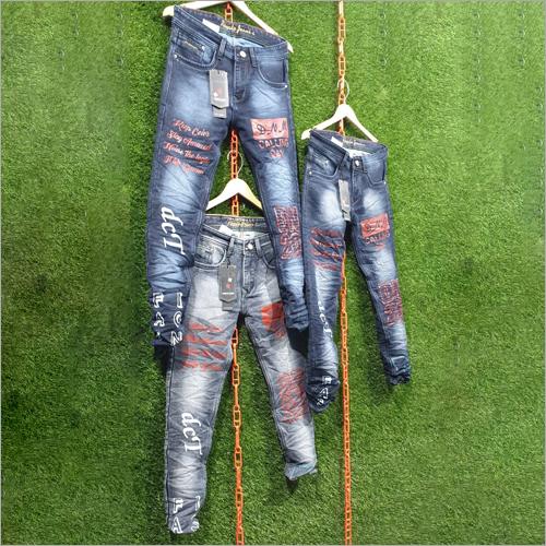 Mens Slim Fit Printed Jeans