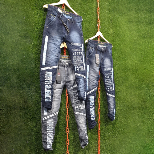 Mens Narrow Bottom Printed Jeans