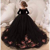 Girls Velvet Net Floor Length Gown