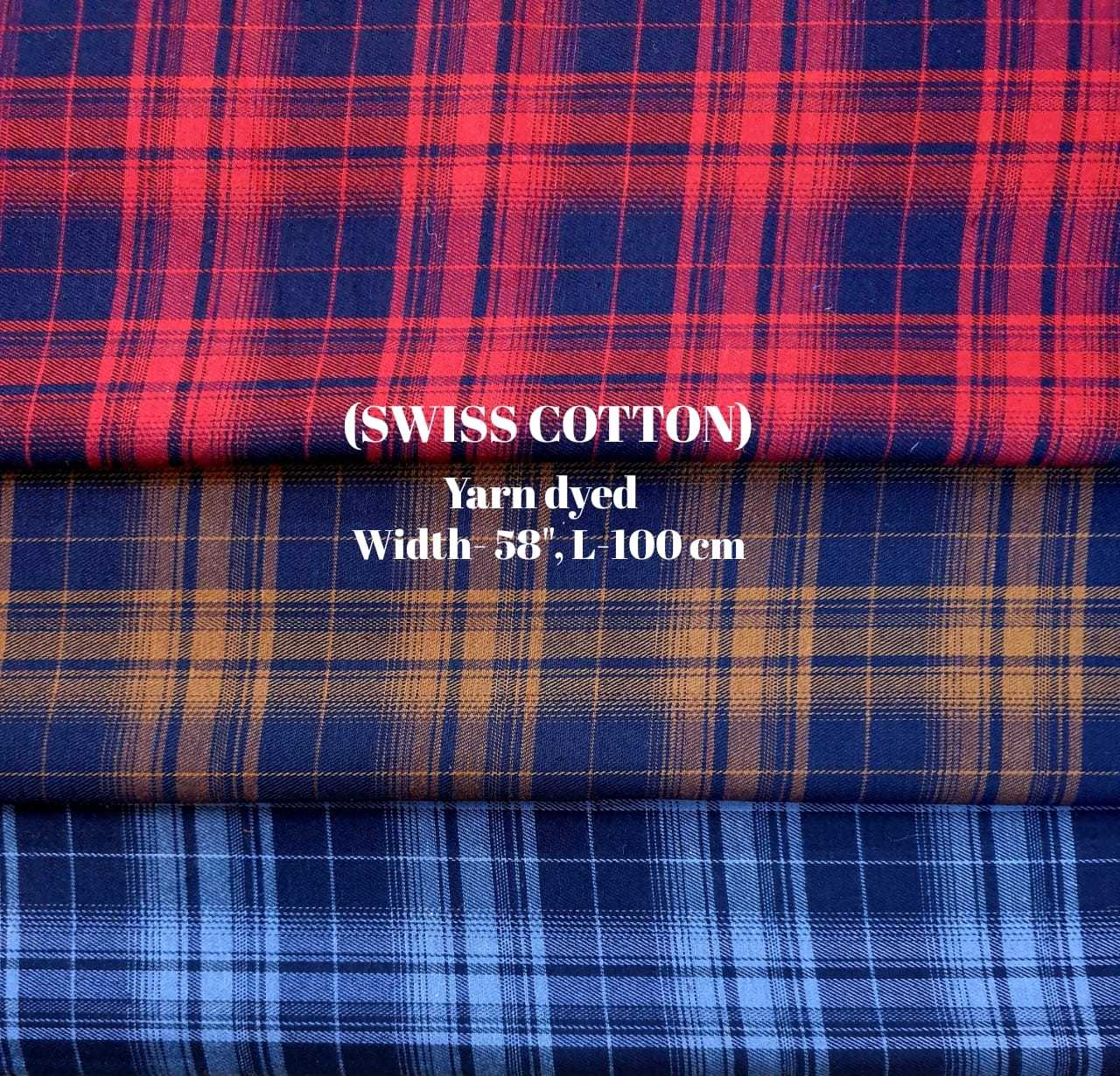 Swiss cotton yarn dyed check fabric